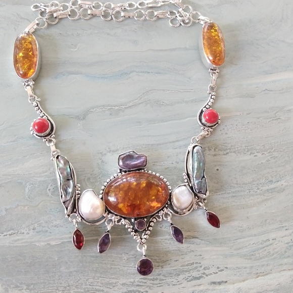 Jewelry - Amber pearl coral stamped 925 necklace